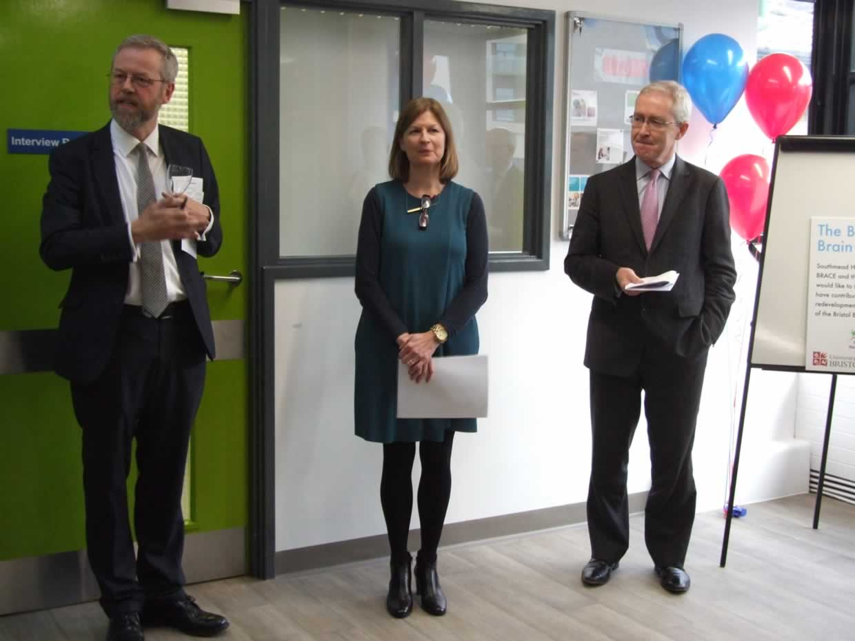 Professor Neil Scolding, Andrea Young and Professor Hugh Brady at the Brain Centre launch